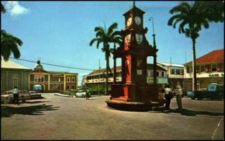 Berkeley Memorial Fountain From Bank Street in 1970s Used with permission, http://historicbasseterre.com/Article1.asp?AID=7\