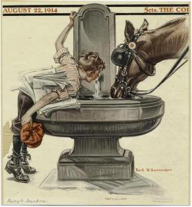 saturday-evening-post-boy-and-a-horse-at-a-water-fountain