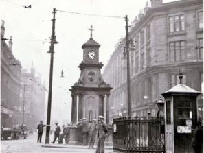 1930 Gorbals Cross looking west from Ballater Street to Norfolk Street. Source: http://www.theglasgowstory.com/image/?inum=TGSE00714