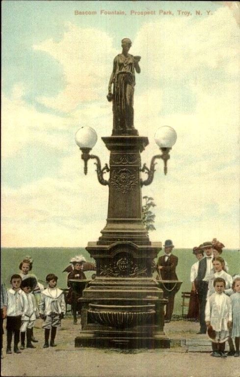 troy-ny-bascom-fountain-kids-c1910-postcard