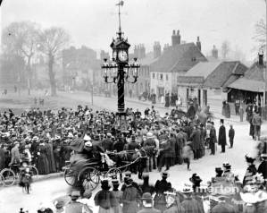 1899 unveiling. Source: https://photoarchive.merton.gov.uk/collections/events-organisations/33363-unveiling-of-mitcham-clock-tower-upper-green